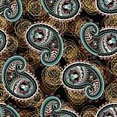 Paisley seamless pattern, indian wallpaper. Colorful backdrop