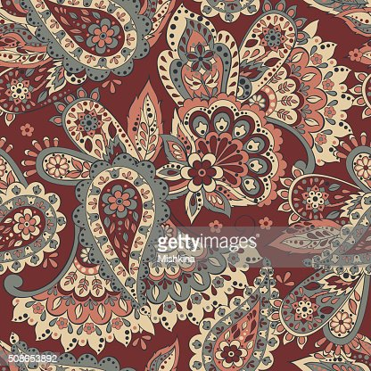 paisley seamless textile pattern in asian batik style : Vector Art