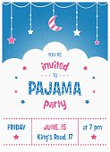 Pajama Sleepover Kids' Party Invitation Card or Poster Template