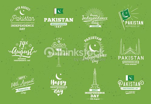 Pakistan Independence Day 14th August Vector Emblems Vector Art