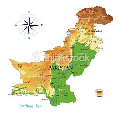 Map Of Asia Karachi.Pakistan Physical Map Stock Vector Thinkstock