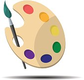 Palette with paint brush in flat style, web icon, isolated object on a white background