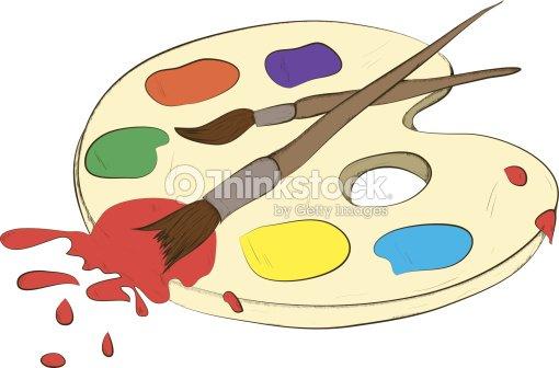 Farbpalette Und Pinsel Mit Farben Vektorgrafik   Thinkstock