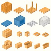 Wooden,plastic and metal pallets with boxes,vector eps 10.