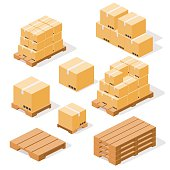 Industrial pallets and boxes for warehouse. Simple set of box and pallets isolated ob white background, made in isometric style.