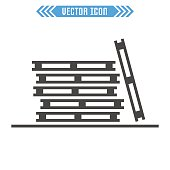 Pallets icon. Vector sign symbol. Isolated on white background.