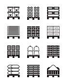 Pallets with different building materials - vector illustration
