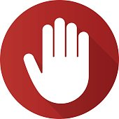 Palm flat design vector icon. Stop, greeting and high five gesture