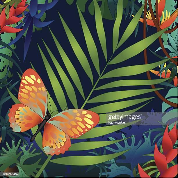 Palmenblätter und Schmetterling