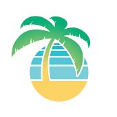 Colorful palm tree and tropical beach icon for a tourism and travel concept isolated on white, vector illustration