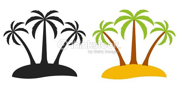 Isla Desierta árbol De Palma Vector Logo De Palmeras Turismo Tres En