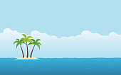 palm tree on island and blue sky background in flat icon design