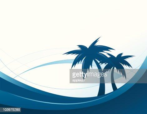 Palm Trees on Beach : Vector Art