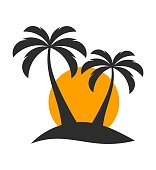 Palm trees and sunset over island. Vector illustration
