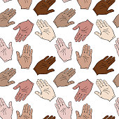 palms of different skin colors are drawn to each other, seamless pattern isolated on white background