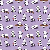 Panda cartoon character in various pose animal white cute china black bear giant mammal fat wilderness rare. Lying woods panda bear eating bamboo china wild animal seamless pattern