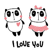 vector illustration, cute panda couple and i love you hand lettering text