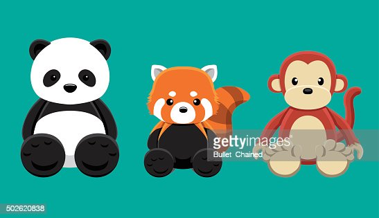 Panda Roux Monkey Poupee Set De Dessin Anime Vector Illustration