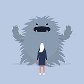 Panic attack. Face the fear.  Psychological issues. Phobia, Dealing with the stress. Huge monster trying to scare a character. Flat editable vector illustration, clip art