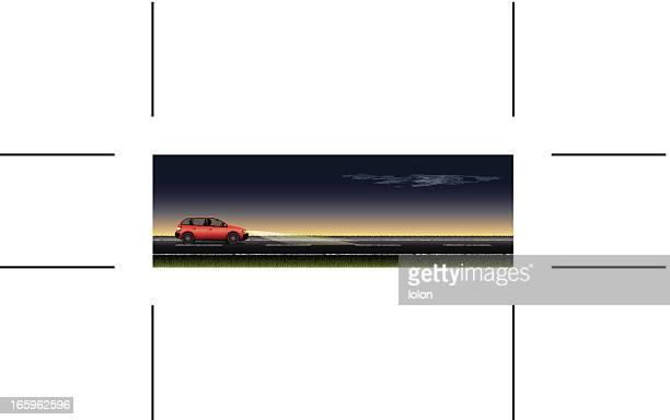 panoramic road and red car at night