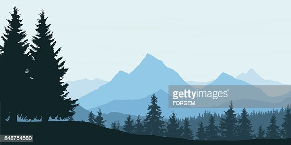 Panoramic view of mountain landscape with forest and hill under blue sky with clouds - vector illustration : stock vector
