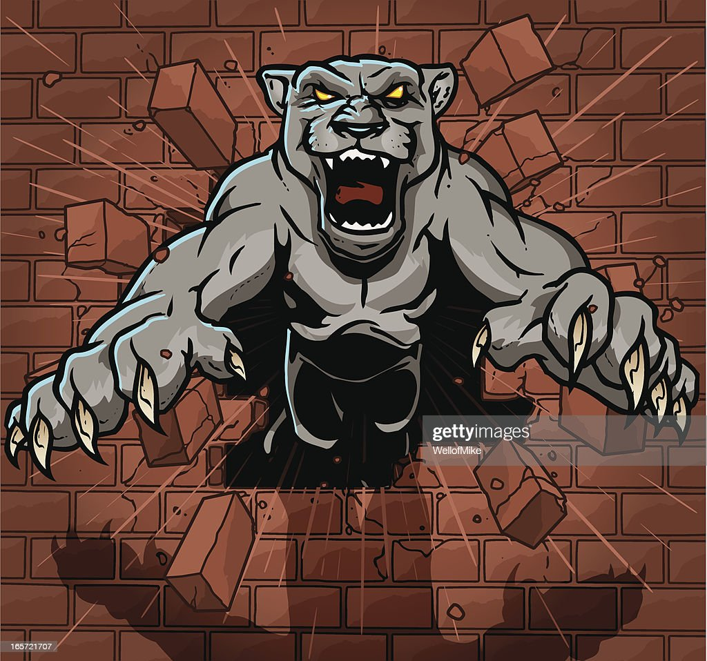 panther breaking through brick wall vector art getty images