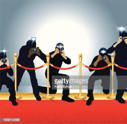 Paparazzi photojournalists photographers on red carpet vector art getty images - Red carpet photographers ...