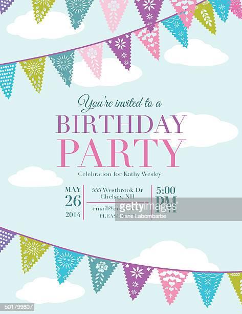 Papel Picado Banner Geburtstagsparty Einladung Vorlage