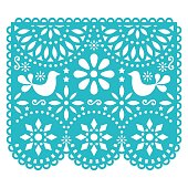 Traditional banner form Mexico, Cut out floral composition isolated on white