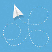 Flying paper airplane with dashed line, vector eps10 illustration