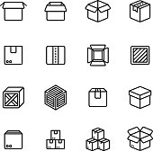 Paper and wood box line icons. Shipping packing outline vector pictograms. Illustration of package container and cargo cardboard box