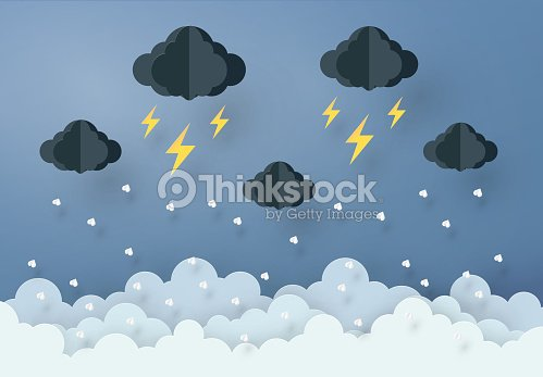 Paper Art Design Style The Concept Is Rainy Season Cloud And