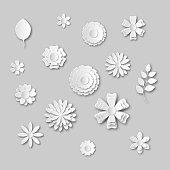 Paper art flowers set. Gray scale. White abstract flower. Vector illustration.