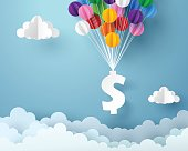 Paper art of dollar sign hanging with colorful balloon, business and finance concept and paper art idea, vector art and illustration.
