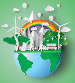 Paper art of eco friendly family concept and earth with environment day. vector illustration