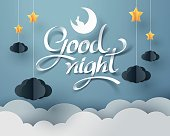 Paper art of Goodnight and sweet dream, night and paper mobile concept, vector art and illustration.