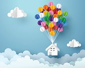 Paper art of house hanging with colorful balloon, business and asset management concept and paper art idea, vector art and illustration.
