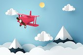 Paper art of pink plane flying in the sky, origami and travel day concept, vector art and illustration.