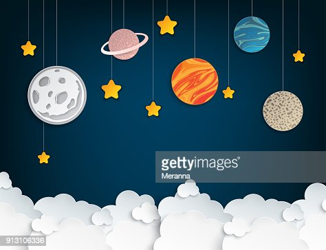 Paper art origami abstract concept with stars, fluffy clouds, full moon, different planets of solar system. Vector illustration : Vector Art