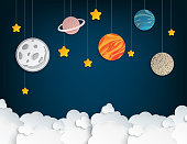 Paper art origami abstract concept with stars, fluffy clouds, full moon, different planets of solar system. Vector illustration
