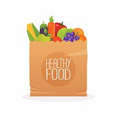 Paper bag with healthy foods. Healthy organic fresh and natural food. Grocery delivery concept. Flat design vector illustration.