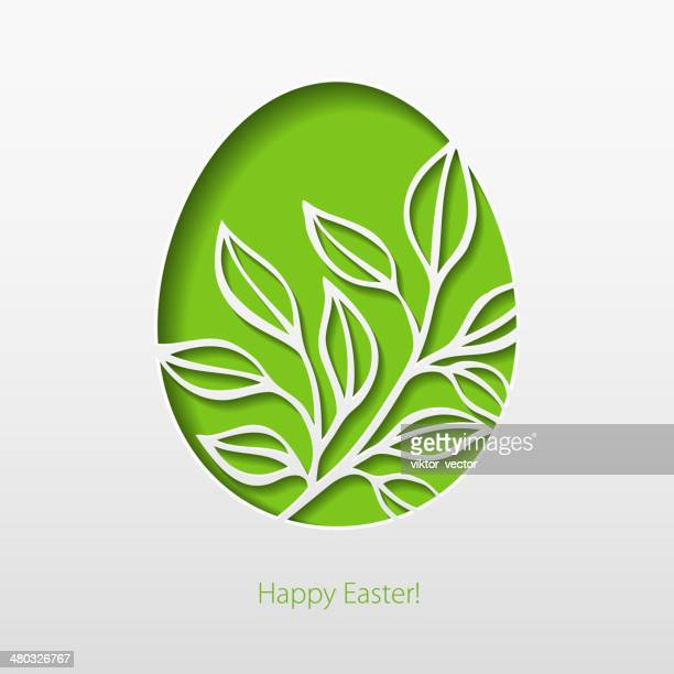 Paper card with Easter eggs. Vector illustration