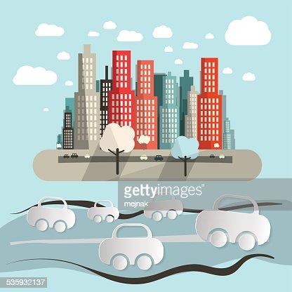 Paper Cars in City : Vector Art
