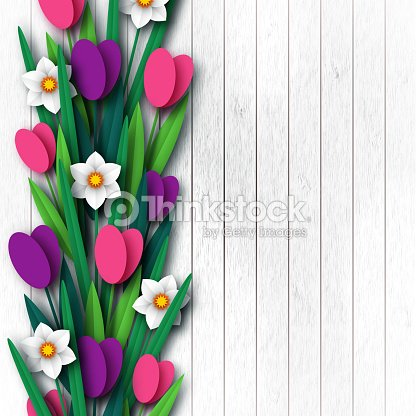 Paper cut spring flowers tulip and narcissus. Template for greeting card, wooden background. Papercraft style. Vector illustration.