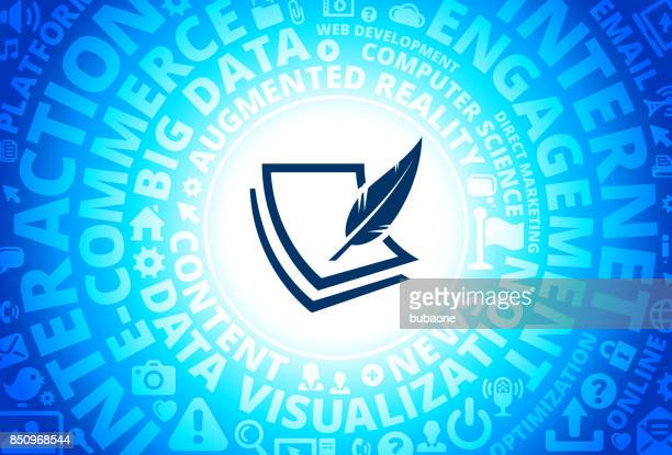 Paper & Feather Pen Icon on Internet Modern Technology Words Background