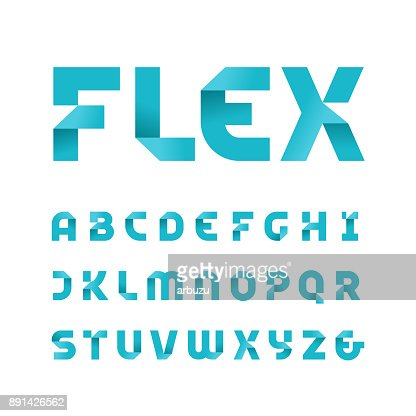Paper font. Vector alphabet with fold effect letters. : stock vector