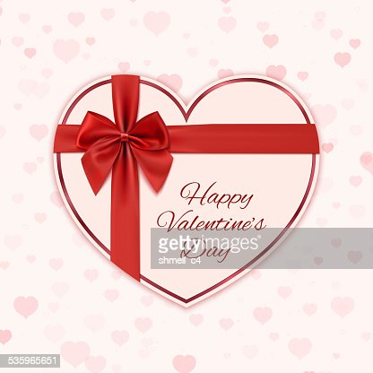 Paper heart with red ribbon and a bow : Vector Art