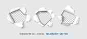 Paper hole set realistic vector illustration isolated on transparent background. Torn page for sale promo and advertising, web sites, flyer and banner