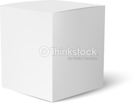 paper or cardboard box template standing on white background