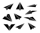 Paper plane. Black silhouette. Set of airplane icons. Isolation. Vector